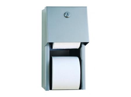 0030 - Toalettpapír tartó, rozsdamentes SZÁLCSISZOLT, háztartási duplatekercses, falra szerelhető  - – papír maximális átmérő: 135 mm – tekercs felhasználása után automatikus hozzáférés a második tekercshez – szálcsiszolt, zárható kivitel