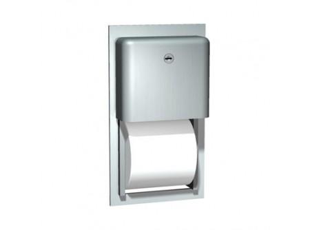 9031 - Duplatekercses háztartási toalettpapír adagoló, rozsdamentes, szálcsiszolt, falba építhető - - papír maximális átmérő: 135 mm    - 1. tekercs felhasználása után,automatikus hozzáférés a 2.tekercshez    - zárható kivitel