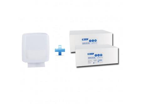 AHB102/VTE201 - Akciós csomag: hajtogatott SLIM papíradagoló + 2 karton hajtogatott öko-cellulóz SLIM papír - - SLIM típusú hajtogatott papírhoz való adagoló - Helytakarékos, 11 cm mélysége miatt mindenhol kényelmesen elfér - Akár 400 lap kapacitás - Szerelést könnyítő vízmértékkel ellátva - Kulccsal nyitható. Törésálló műanyagból készült  - fehér, 2rétegű, 100% öko-cellulóz - 2x16,5g/m2, lapméret 18cm x 21,5cm - PEFC ökológiai tanúsítvány - food contact (Száraz és nedves élelmiszerekhez) - dermatológiailag tesztelt