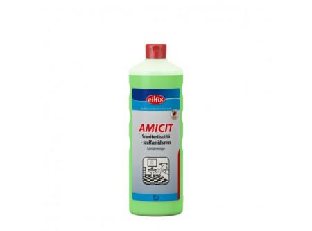 amicit-1 - Szanitertisztító, szulfamidsavas, 1L - Tisztítószer minden szaniter ferületre. Eltávolítja a mész- és vízfoltokat, továbbá a szappanmaradékot a csempéről, armatúráról, tusolók válaszfalairól, üvegről, akril felületekről. Takarékos használatot biztosít. Kellemes, higiénikus friss illatot hagy maga után.  • kiválóan alkalmas cementfátyol eltávolítására • napi takarításra ideális megoldás