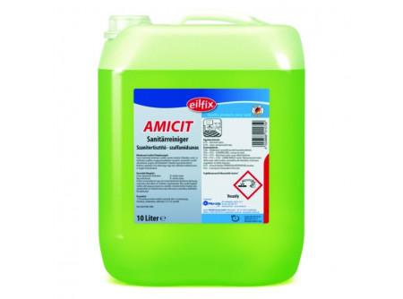 AMICIT-10 - Szanitertisztító, szulfamidsavas, 10 L - Tisztítószer minden szaniter ferületre. Eltávolítja a mész- és vízfoltokat, továbbá a szappanmaradékot a csempéről, armatúráról, tusolók válaszfalairól, üvegről, akril felületekről. Takarékos használatot biztosít. Kellemes, higiénikus friss illatot hagy maga után.  • kiválóan alkalmas cementfátyol eltávolítására • napi takarításra ideális megoldás
