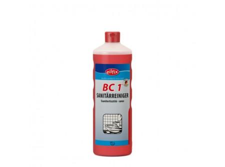 bc1-1 - Szanitertisztító, foszforsavas, 1L - Különösen friss környezetet biztosító napi tisztítószer. A takarításban szóró eljárással alkalmazható. Mindenféle anyagra és a fürdõk, WC felületeire. Oldjaa mész és vízfoltokat.  • a fürdõk és WC-k felületeinek és berendezéseinek tisztítószere • friss illattal