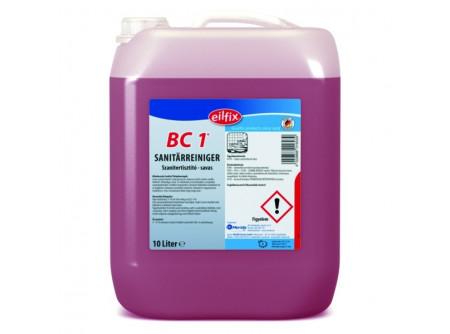 BC1-10 - Szanitertisztító, foszforsavas, 10L - Különösen friss környezetet biztosító napi tisztítószer. A takarításban szóró eljárással alkalmazható. Mindenféle anyagra és a fürdõk, WC felületeire. Oldjaa mész és vízfoltokat.  • a fürdõk és WC-k felületeinek és berendezéseinek tisztítószere • friss illattal