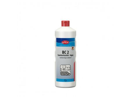 bc2-1 - Szanitertisztító, lúgos, 1L - Kellemes illatú lúgos szanitertisztító. Eltávolítja a szappan-, testápoló- és olajmaradványokat, továbbá a padlócsempéről az utcai szennyeződéseket.Ideális armatúrák, csempék, kerámia, akril felületek tisztítására.  • minden vízálló felületre • kellemes friss illat • alkalmas permetező rendszerű, habosító és nagynyomású tisztításra is