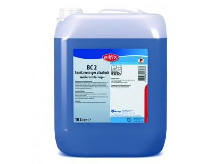 BC2-10 - KIFUTÓ Szanitertisztító, lúgos, 10L - Kellemes illatú lúgos szanitertisztító. Eltávolítja a szappan-, testápoló- és olajmaradványokat, továbbá a padlócsempéről az utcai szennyeződéseket.Ideális armatúrák, csempék, kerámia, akril felületek tisztítására.  • minden vízálló felületre • kellemes friss illat • alkalmas permetező rendszerű, habosító és nagynyomású tisztításra is