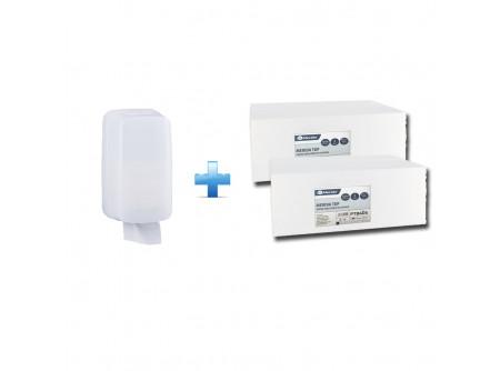 BHB401/PTB405 - Akciós csomag:  hajtogatott toalettpapír adagoló + 2 karton hajtogatott toalettpapír - - szerelést könnyítő vízmértékkel ellátva - kulccsal nyitható, törésálló műanyagból készült  - fehér, 2 rétegű, 100% cellulóz, 2x17,5g/m2