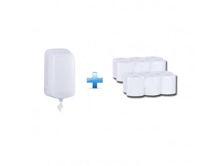 BHB701/PTB702 - Akciós csomag:  egylapos toalettpapír adagoló + 2 csomag toalettpapír - - rolnis papír adagoló CENTER PULL típusú toalett papírhoz - speciális szűkítő alkalmazása lehetővé teszi a laponkénti adagolást - a papír laponként a perforáció mentén szakad, csökkentve ezzel a  felhasznált papír mennyiségét - szerelést könnyítő vízmértékkel ellátva, kulccsal nyitható - törésálló műanyagból készült  - fehér, 2 rétegű, 100% cellulóz, 2x16g/m2