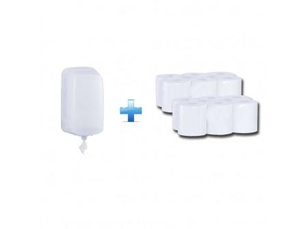 BHB701/RTB703 - Akciós csomag:  egylapos rolnis papíradagoló + 2 csomag rolnis papír - - rolnis papír adagoló CENTER PULL típusú toalett papírhoz - speciális szűkítő alkalmazása lehetővé teszi a laponkénti adagolást - a papír laponként a perforáció mentén szakad, csökkentve ezzel a  felhasznált papír mennyiségét - szerelést könnyítő vízmértékkel ellátva, kulccsal nyitható - törésálló műanyagból készült  - fehér, 2rétegű, 100% cellulóz, 2x18g/m2 - facility és élelmiszeripari területekre - FSC ökologiai tanúsítvány - PZH tanúsítvány