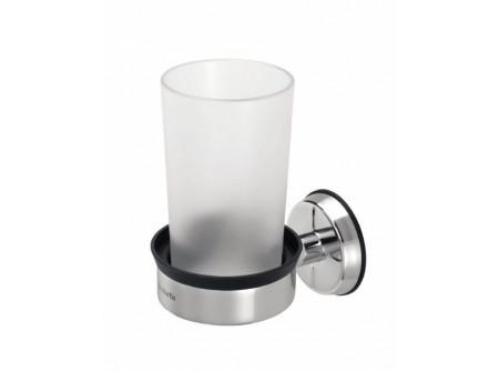 BRA02P - KIFUTÓ  Pohártartó pohárral, polírozott - - tartós, kiváló minőségű korrózióálló anyagokból - könnyen tisztítható, a pohár mosogatógépben is mosható - polírozott kivitel