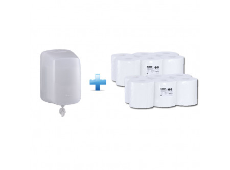 CHB101/REB701 - Akciós csomag: egylapos rolnis papíradagoló + 2 csomag rolnis papír - - rolnis papír adagoló CENTER PULL típusú papírhoz - speciális szűkítő alkalmazása lehetővé teszi a laponkénti adagolást - a papír laponként a perforáció mentén szakad, csökkentve ezzel a  használt papír mennyiségét és a hulladékot - szerelést könnyítő vízmértékkel ellátva - kulccsal nyitható, törésálló műanyagból készült  - fehér, 1 rétegű, recycled, 20g/m2 - FSC Ökológiai tanúsítvány - PZH tanúsítvány (ipari és élelmiszeripari területre)
