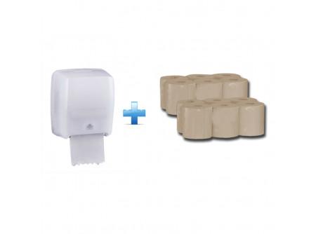"""CHB501/RAE301 - Akciós csomag: rolnis papíradagoló, automata + 2 karton öko-cellulóz rolnis papír - - a berendezés mechanizmusa lehetővé teszi a papírlap hossza és az üzemmód kiválasztását. Az üzemmód SENSOR vagy AUTOMATA lehet. A """"SENSOR"""" üzemmódban a papírlap kicsúszik a szenzor kézzel történő aktiválása után , az """"AUTOMATA"""" üzemmódban a lap leszakítása után a következő automatikusan kicsúszik (automatikus üzemmód javasolt a frekventáltabb helyeken Pl.: iskolák, óvodák, kórházak, idősek otthona) - problémamentesen vág egy-, kettő- és három rétegű, akár puha, akár keményebb papírokat is - működtethető 6db R14 Baby elemről és tápegységről is (nem tartozék) - a dobhoz és a hengerhez a hozzáférés egyszerű, ami megkönnyíti a tisztítást és karbantartást. - a papírtovábbító henger fémpalásttal van ellátva, mely megakadályozza a papír elektrosztatikus feltöltődését, így a lapok nem tapadnak egymáshoz. - a készüléket akár a sarokba is fel lehet szerelni. Csak a betöltéshez szükséges helyre van szükség - a roll tartó tartalmaz egy speciális fékező elemet, mely meggátolja a papír nagymértékű letekeredést - az adagoló kiváló minőségű műanyagból készült - Figyelem! A szállítási és szerelési időre egy narancssárga színű, vágó szerkezet blokkoló műanyag lapka van a készülékben. Ezt használat előtt, illetve szerelés után el kell távolítani! - A készülék alkalmas okos telefonról vagy tabletről történő beállításra a HYGIENEKEY applikáció segítségével. A kommunikáció bluetooth-on keresztül történik. Hatótávolsága 5-10m. Az alkalmazás letölthető App Store és Play Áruházból is. Ennek az applikációnak a segítségével beállíthatók az alábbiak: - az adagoló nevének megadása, módosítása - üzemmód váltás (lapkiadás """"érintésre"""", lapkiadás a papír letépése után) - lap hossza (15-60cm) - az adagoló működési ideje, napjai - lapkiadás késleltetése - megadható a roll hossza, ehhez mérten kiszámolja a lapmennyiséget - figyelmeztetés alacsony elemtöltöttségre, lapszámra  - homokszínű, 2 rétegű, 100"""
