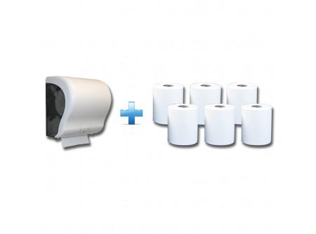 CJB301/RAB301 - Akciós csomag: Automata rolnis kéztörlő adagoló + 1karton fehér rolnis papír - 1db. automata papírtörölköző adagoló - egyedülálló, szabadalmaztatott rendszer - mechanikus vágóéllel - kis méret, a behelyezhető roll maximális méretei: Ø 20 cm, - a töltöttség látható az áttetsző ablakon keresztül - törésálló ABS-műanyag  6db. automata adagolású roll - egyrétegű, fehér - környezetbarát recycled alapanyag - kiváló száraz és nedves szakítószilárdság - leggazdaságosabb megoldás kéztörlésre