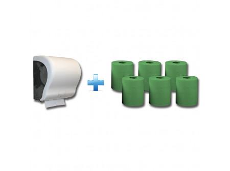 CJB301/RAZ301 - Akciós csomag: Automata rolnis kéztörlő adagoló + 1karton zöld rolnis papír - 1db. automata papírtörölköző adagoló - egyedülálló, szabadalmaztatott rendszer - mechanikus vágóéllel - kis méret, a behelyezhető roll maximális méretei: Ø 20 cm, - a töltöttség látható az áttetsző ablakon keresztül - törésálló ABS-műanyag  6db. automata adagolású roll - egyrétegű, zöld - környezetbarát recycled alapanyag - kiváló száraz és nedves szakítószilárdság - leggazdaságosabb megoldás kéztörlésre