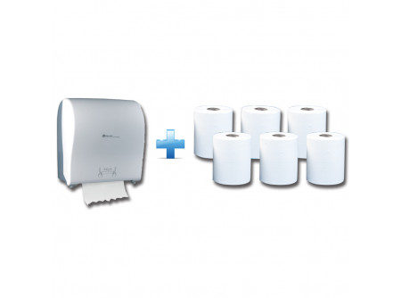 CJB302/RAB301 - Akciós csomag: Automata rolnis kéztörlő adagoló + 1karton fehér rolnis papír - 1db. automata papírtörölköző adagoló - a behelyezhető roll maximális mérete: Ø 19,5 cm - törésálló ABS műanyag - oldalt áttetsző műanyag, melyen keresztül látható a töltöttség - mechanikus vágóél - 25 cm-es hosszúságú papírtörölköző levágására alkalmas  6db. automata adagolású roll - egyrétegű, fehér - környezetbarát recycled alapanyag - kiváló száraz és nedves szakítószilárdság - leggazdaságosabb megoldás kéztörlésre