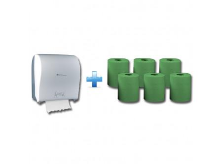 CJB302/RAZ301 - Akciós csomag: Automata rolnis kéztörlő adagoló + 1karton zöld rolnis papír - 1db. automata papírtörölköző adagoló - a behelyezhető roll maximális mérete: Ø 19,5 cm - törésálló ABS műanyag - oldalt áttetsző műanyag, melyen keresztül látható a töltöttség - mechanikus vágóél - 25 cm-es hosszúságú papírtörölköző levágására alkalmas  6db. automata adagolású roll - egyrétegű, zöld - környezetbarát recycled alapanyag - kiváló száraz és nedves szakítószilárdság - leggazdaságosabb megoldás kéztörlésre