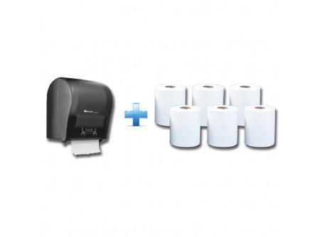 CJC302/RAB301 - Akciós csomag: Automata rolnis kéztörlő adagoló + 1karton fehér rolnis papír - 1db. automata papírtörölköző adagoló - matt fekete kivitel - törésálló ABS műanyag - a mechanikus vágóhenger a kéztörlőt laponként adagolja - a töltöttség látható az áttetsző ablakon keresztül - vágott lapméret hossza: 25 cm  6db. automata adagolású roll - egyrétegű, fehér - környezetbarát recycled alapanyag - kiváló száraz és nedves szakítószilárdság - leggazdaságosabb megoldás kéztörlésre