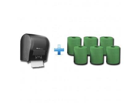 CJC302/RAZ301 - Akciós csomag: Automata rolnis kéztörlő adagoló + 1karton zöld rolnis papír - 1db. automata papírtörölköző adagoló - egyedülálló, szabadalmaztatott rendszer - mechanikus vágóéllel - kis méret, a behelyezhető roll maximális méretei: Ø 20 cm, - a töltöttség látható az áttetsző ablakon keresztül - törésálló ABS-műanyag  6db. automata adagolású roll - egyrétegű, zöld - környezetbarát recycled alapanyag - kiváló száraz és nedves szakítószilárdság - leggazdaságosabb megoldás kéztörlésre