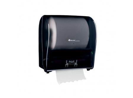 CJC303 - KIFUTÓ Automata rolnis kéztörlő adagoló, fényes fekete ABS műanyag - - fényes fekete kivitel - törésálló ABS műanyag - a mechanikus vágóhenger a kéztörlőt laponként adagolja - a töltöttség látható az áttetsző ablakon keresztül - vágott lapméret hossza: 25 cm    http://meridaunique.com/hu/