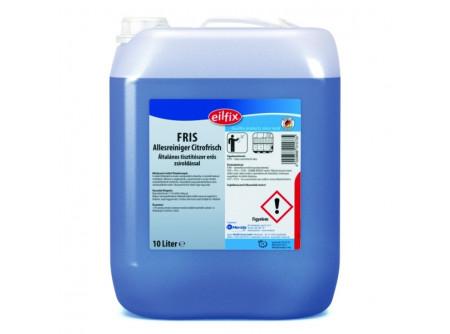 FRIS-10 - Általános tisztítószer, erős zsíroldó hatás, 10L - Vízálló felületek általános tisztítására, zsírtalanítására alkalmazható tisztítószer. Zsíros szennyeződések esetén napi padlótisztításra is kiválóan alkalmas, hosszan tartó friss illatot hagy maga után.  • erős zsíroldás • friss illat • gazdaságos használat