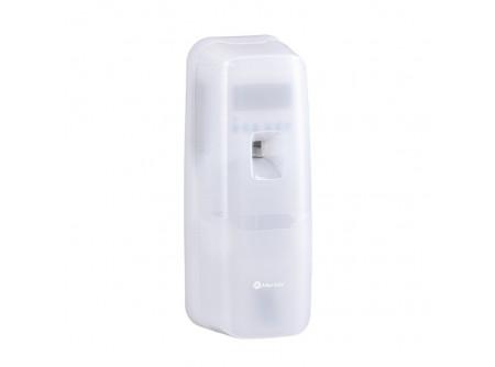 GHB701 - MERIDA HOLD, Automata légfrissítő, digitális, LCD kijelzővel, ABS műanyag - Teljesen automatikus, nagy teljesítményű működés (teljes illat intenzitás a helységben, akár 170 m³–ig). Elegáns, keskeny kivitel, magas minőségű törésálló műanyagból készült, minden helységben alkalmazható, rendszerkulccsal nyitható. Az elektronikus vezérlő lehetővé teszi a következő paraméterek beállítását: – aktuális dátum/idő beállítás – munkanapok beállítása – 24h vagy meghatározható időben (üzemkezdésnek és végének ideje) – illatanyag adagolás közötti idő beállítása (1-tól 60 percig) – patron csere szükségét jelző villogó piros LED – permet számláló A programozás befejezése után a berendezés kijelzi hány munkanapra elegendő a patron. Két AA típusú elemmel működik (a csomag nem tartalmaz elemeket).emeket).