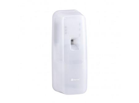GHB702 - MERIDA HOLD, Automata légfrissítő, analóg, LED kijelzővel, ABS műanyag - Elegáns, keskeny kivitel, magas minőségű törésálló műanyagból készült, minden helységben alkalmazható, rendszerkulccsal nyitható. Az elektronikus vezérlő lehetővé teszi a következő paraméterek beállítását: – két permetezés közötti idő: 7,5-15-30 perc – fényérzékelő – 24H, éjszakai, nappali üzemmódra – patron csereszükségét jelző villogó piros LED A zölden villogó LED jelzi a megfelelő működési beállítást. Két AA típusú elemmel működik (a csomag nem tartalmazza elemeket).