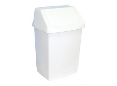 K3 - Hulladékgyűjtő, 25L, műanyag, billenőfedeles - - űrtartalom: 25 liter - fehér, műanyag kivitel - megfelelő méretű zsákot biztosítunk