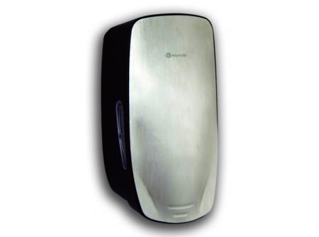 MERCI - KIFUTÓ Automata szappanadagoló, szürke ABS műanyag, fém dekor előlap, infra érzékelővel - – lakkozott, szálcsiszolt rozsdamentes fém előlappal – törésálló ABS műanyagból készült – töltöttség ellenőrző ablakok – speciális rendszerkulccsal zárható – utántöltése kannából történhet – űrtartalom: 650ml – szürke adagolótesttel