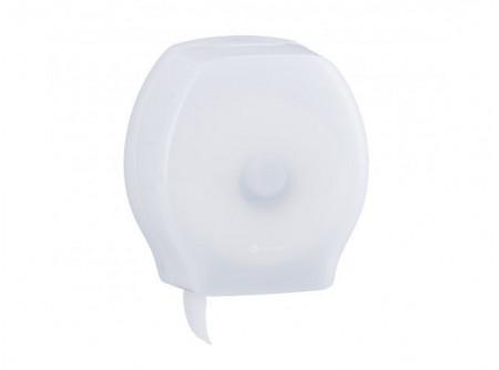 BHB101 - MERIDA HOLD, toalettpapír adagoló, midi,  fehér ABS műanyag - - szerelést könnyítő vízmértékkel ellátva - kulccsal nyitható, törésálló műanyagból készült