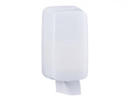 BHB401 - MERIDA HOLD,  hajtogatott toalettpapír adagoló, fehér ABS műanyag - - szerelést könnyítő vízmértékkel ellátva - kulccsal nyitható, törésálló műanyagból készült