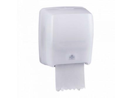 """CHB501 - MERIDA HOLD Automata rollnis kéztörlő adagoló, fehér ABS műanyag. Bluetooth vezérléssel -  a berendezés mechanizmusa lehetővé teszi a papírlap hossza és az üzemmód kiválasztását. Az üzemmód SENSOR vagy AUTOMATA lehet. A """"SENSOR"""" üzemmódban a papírlap kicsúszik a szenzor kézzel történő aktiválása után , az """"AUTOMATA"""" üzemmódban a lap leszakítása után a következő automatikusan kicsúszik (automatikus üzemmód javasolt a frekventáltabb helyeken Pl.: iskolák, óvodák, kórházak, idősek otthona) problémamentesen vág egy-, kettő- és három rétegű, akár puha, akár keményebb papírokat is működtethető 6db R14 Baby elemről (nem tartozék) és tápegységről is. A tápegység tartozék! a dobhoz és a hengerhez a hozzáférés egyszerű, ami megkönnyíti a tisztítást és karbantartást. a papírtovábbító henger fémpalásttal van ellátva, mely megakadályozza a papír elektrosztatikus feltöltődését, így a lapok nem tapadnak egymáshoz. a készüléket akár a sarokba is fel lehet szerelni. Csak a betöltéshez szükséges helyre van szükség a roll tartó tartalmaz egy speciális fékező elemet, mely meggátolja a papír nagymértékű letekeredést az adagoló kiváló minőségű műanyagból készült Figyelem! A szállítási és szerelési időre egy narancssárga színű, vágó szerkezet blokkoló műanyag lapka van a készülékben. Ezt használat előtt, illetve szerelés után el kell távolítani! A készülék alkalmas okos telefonról vagy tabletről történő beállításra a HYGIENEKEY applikáció segítségével. A kommunikáció bluetooth-on keresztül történik. Hatótávolsága 5-10m. Az alkalmazás letölthető App Store és Play Áruházból is. Ennek az applikációnak a segítségével beállíthatók az alábbiak:  az adagoló nevének megadása, módosítása üzemmód váltás (lapkiadás """"érintésre"""", lapkiadás a papír letépése után) lap hossza (15-60cm) az adagoló működési ideje, napjai lapkiadás késleltetése megadható a roll hossza, ehhez mérten kiszámolja a lapmennyiséget figyelmeztetés alacsony elemtöltöttségre, lapszámra"""