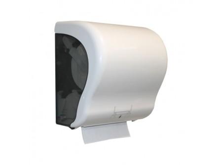 CJB301 - Automata rollnis kéztörlő adagoló, fehér ABS műanyag - - egyedülálló, szabadalmaztatott rendszer - mechanikus vágóéllel - behelyezhető roll maximális méretei: Ø 20 cm - a töltöttség látható az áttetsző ablakon keresztül - törésálló ABS műanyag