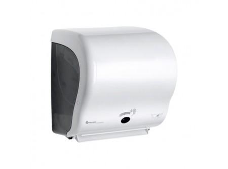 CJB502 - Automata rolnis kéztörlő adagoló, szenzoros, matt fehér ABS műanyag, - - infra vezérlésű adagoló - infraérzékelő egyszerűen és könnyen beállítható - a behelyezhető roll maximális méretei: Ø 20 cm - vágott lapméret hossza állítható: 20, 30, 40 cm - kétszínű LED jelzi az akkumulátor töltöttségét - 4 darab D méretű (góliát) elemmel működik (R20) - töltöttség látható az áttetsző ablakon keresztül - törésálló ABS-műanyag