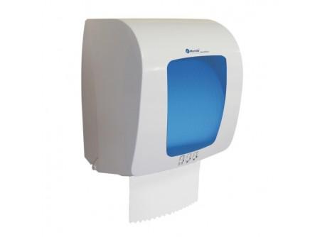 CTN401 - KIFUTÓ  Automat rolnis kéztörlő adagoló, fehér ABS műanyag, kék szemmel, mini rollhoz - – törésálló ABS műanyag – a mechanikus vágóhenger a kéztörlőt laponként adagolja – a töltöttség látható az áttetsző ablakon keresztül – vágott lapméret hossza 28 cm – modern forma – kék betéttel