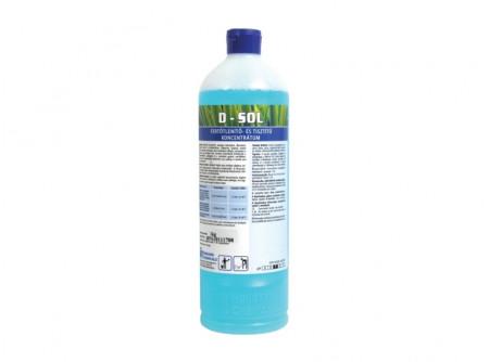 d-sol-1 - Semleges kémhatású tisztító- és fertőtlenítőszer koncentrátum, 1L - Szoláriumok, kondicionáló- és fitnesstermek, öltözők, irodák, raktárak, folyosók berendezéseinek, felületeinek tisztító hatású fertőtlenítésére.  Hatásspektrum: baktericid, fungicid, virucid  A megadott árból további kedvezményt nem tudunk biztosítani!
