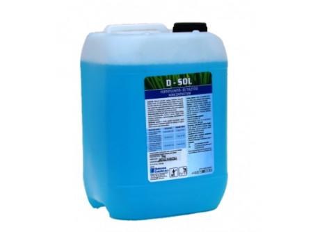 D-SOL-5 - Semleges kémhatású tisztító- és fertőtlenítőszer koncentrátum, 5L - Szoláriumok, kondicionáló- és fitnesstermek, öltözők, irodák, raktárak,folyosók berendezéseinek, felületeinek tisztító hatású fertőtlenítésére.  Hatásspektrum:baktericid, fungicid, virucid