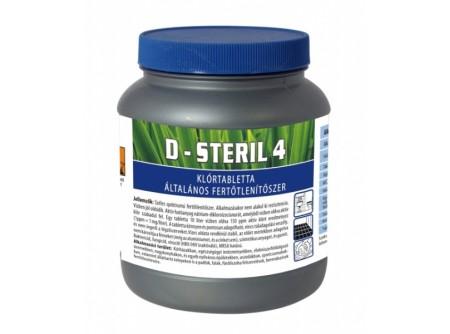 d-steril4-1 - Klórtabletta, 1kg (330 db.) - Széles spektrumú tabletta formájú fertőtlenítőszer. Alkalmazásakor nem alakul ki rezisztencia. Vízben jól oldódik. Aktív hatóanyag 1,3-diklór-triazin-2,4-trion nátriumsó dihidrát, amelyből vízben oldva aktív klór szabadul fel. A tabletta könnyen és pontosan adagolható, nincs túladagolási veszély. Vizes oldata rendkívül stabil, az előírt mértékben adagolva nem károsítja a fémeket (még az alumíniumot, és a cinket sem), szintetikus anyagot, és gumit.  Használható kórházakban, egészségügyi intézményekben, élelmiszerfeldolgozó üzemekben, nagykonyhákon, és egyéb nyilvános épületekben, uszodákban, sportcsarnokokban, stb. apadlók, falak, fürdőszoba felszerelések, berendezések, tálak, edények, stb. fertőtlenítésére.