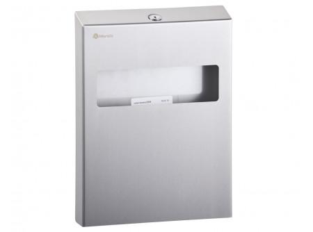 GPW1 - Toalett ülőke higiéniai papíralátét adagoló, rozsdamentes, szálcsiszolt - – 100 db-os cserélhető töltőcsomag – szálcsiszolt, kulccsal zárható kivitel