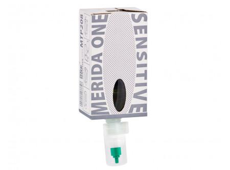 MTP208 - MERIDA ONE, Habszappan patron, SENSITIVE ice-blue illattal - - nagy kapacitású, csepegésmentes patron: 2000 adag / patron - kiváló minőségű szappan, rendkívül finom hab, adagolt formában - rövidebb idejű kézmosás miatt alacsonyabb vízfelhasználás, kisebb környezetterhelés - a gyárilag zárt patronoknak köszönhetően nem érheti külső kontamináció a szappant - a patron anyaga 100%-ban újrahasznosítható - SENSITIVE ice-blue illattal