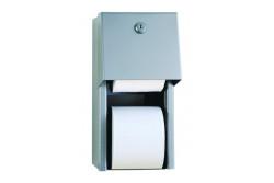 Toalettpapír tartó, rozsdamentes SZÁLCSISZOLT, háztartási duplatekercses, falra szerelhető   0030  Régi cikkszám: 01-0030