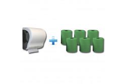 Akciós csomag: Automata rolnis kéztörlő adagoló + 1karton zöld rolnis papír  CJB301/RAZ301  max 20 cm átmérőjű roll! egyenes vágóél