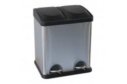 Szelektív hulladékgyűjtő, 2x30L, rozsdamentes, szálcsiszolt, lábpedálos  KIM705